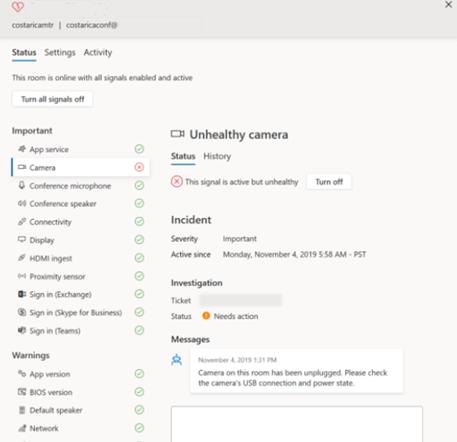 Screenshot of Microsoft Teams Room Systems
