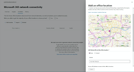 Network connectivity - add location page