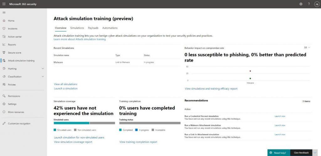 screenshot of Attack Simulation training