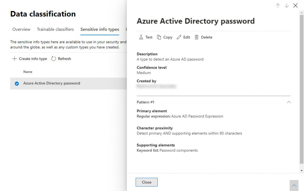 Definition for the Azure Active Directory password custom sensitive information type
