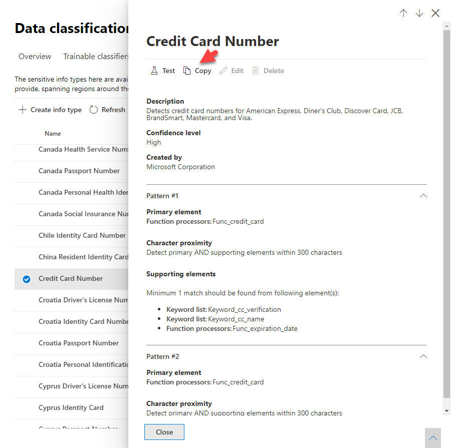 Copying the sensitive information type for a credit card number